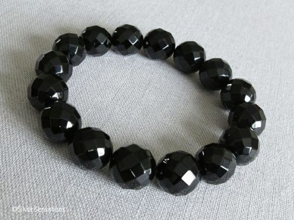 Faceted Chunky Black Onyx Beaded Stretch Bracelet | Silver Sensations